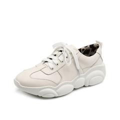 Teenmix/天美意2019春新款白色牛皮革女旅游鞋AR101AM9
