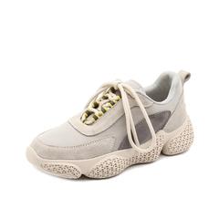 Teenmix/天美意2019春新款灰色牛剖层革/纺织品女旅游鞋BG004AM9