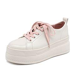Teenmix/天美意2019春新款白色厚底小白鞋人造革女旅游鞋BG008AM9