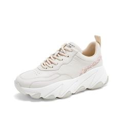 Teenmix/天美意2019春新款商场同款米白色亮片点缀厚底老爹鞋女旅游鞋AT911AM9