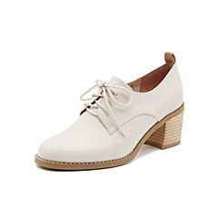 Teenmix/天美意2019春新款商场同款米色高跟粗跟优雅牛皮革女皮鞋6U224AM9