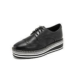 Teenmix/天美意2019春新款商场同款黑色布洛克松糕底打蜡牛皮革女皮鞋CFM24AM9
