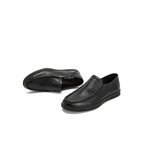teenmix/天美意2019春新款黑色套脚男皮鞋商务休闲鞋正装鞋bf002am9图片