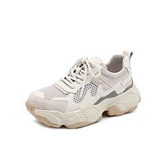 Teenmix/天美意2019春新款米白色老爹鞋牛皮革/纺织品女旅游鞋BR001AM9