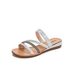 Teenmix/天美意2019?#30007;?#27454;白色度假风亮片女坡跟凉鞋罗马鞋6K719BT9