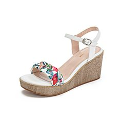 Teenmix/天美意2019?#30007;?#27454;白色女皮坡跟高跟凉鞋CC416BL9
