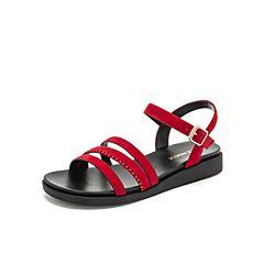 Teenmix/天美意2019?#30007;?#27454;黑色女皮休闲凉鞋CC820BL9