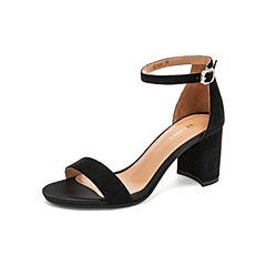 Teenmix/天美意2019?#30007;?#27454;黑色高跟粗跟中空女皮凉鞋CI206BL9