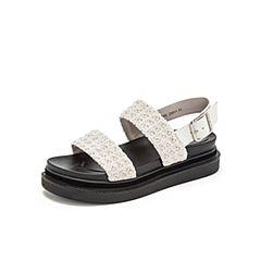 Teenmix/天美意2019?#30007;?#27454;米白色皮带扣纺织品/牛皮革女凉鞋BW000BL9