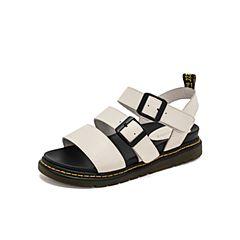 Teenmix/天美意2019?#30007;?#27454;白色休闲厚底女皮凉鞋BK000BL9