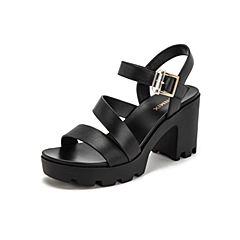Teenmix/天美意2019?#30007;?#27454;商场同款黑色简约高跟女皮凉鞋6K206BL9