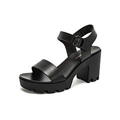 Teenmix/天美意2019?#30007;?#27454;商场同款黑色一字带高跟女皮凉鞋6K213BL9