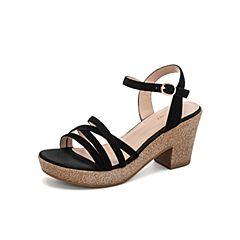 Teenmix/天美意2019?#30007;?#27454;商场同款黑色高跟女皮凉鞋6YB26BL9