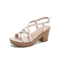 Teenmix/天美意2019?#30007;?#27454;商场同款米色编织高跟女皮凉鞋6YB29BL9