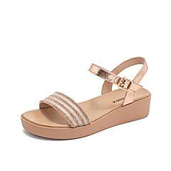 Teenmix/天美意2019?#30007;?#27454;商场同款粉金色厚底钻饰女皮凉鞋6Z904BT9