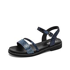 Teenmix/天美意2019?#30007;?#27454;商场同款深兰色青春闪钻条带女皮凉鞋CFJ06BL9