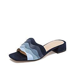 Teenmix/天美意2019?#30007;?#27454;商场同款兰色清新海浪波纹女凉拖鞋CI405BT9