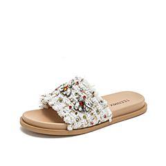 Teenmix/天美意2019夏新款商場同款白色平底女涼拖鞋AS831BT9