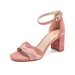 Teenmix/天美意2019?#30007;?#27454;商场同款粉色波浪一字带高跟女凉鞋CI202BL9