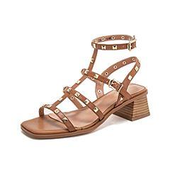 Teenmix/天美意2019?#30007;?#27454;商场同款棕色丁字式铆钉女皮凉鞋CI504BL9