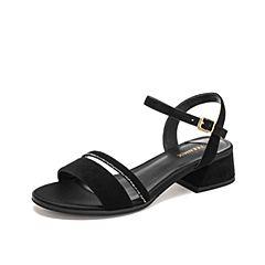 Teenmix/天美意2019?#30007;?#27454;商场同款黑色亮钻一字带女皮凉鞋6Z217BL9