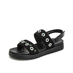 Teenmix/天美意2019?#30007;?#27454;商场同款黑色钻饰休闲女皮凉鞋AU041BL9