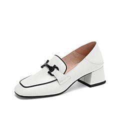 Teenmix/天美意2019春新款白色马衔扣通勤OL穆勒后跟女皮鞋BV000AQ9