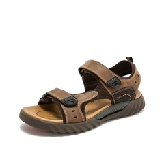 Teenmix/天美意2019?#30007;?#27454;棕色沙滩鞋男户外休闲皮凉鞋BQ003BL9