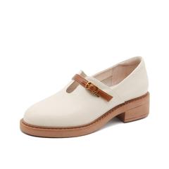 Teenmix/天美意2019春新款米色方跟皮带扣牛皮革女皮鞋BG022AM9