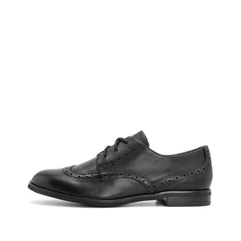 teenmix/天美意2019春新款商场同款黑色宽版打蜡布洛克牛皮革女皮鞋c图片