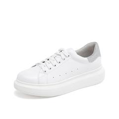 Teenmix/天美意2019春新款白/银色厚底休闲女皮鞋小白鞋6S426AM9
