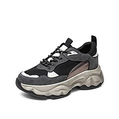 Teenmix/天美意2019秋新款商場同款灰色拼色休閑老爹鞋女旅游鞋AHB52CM9