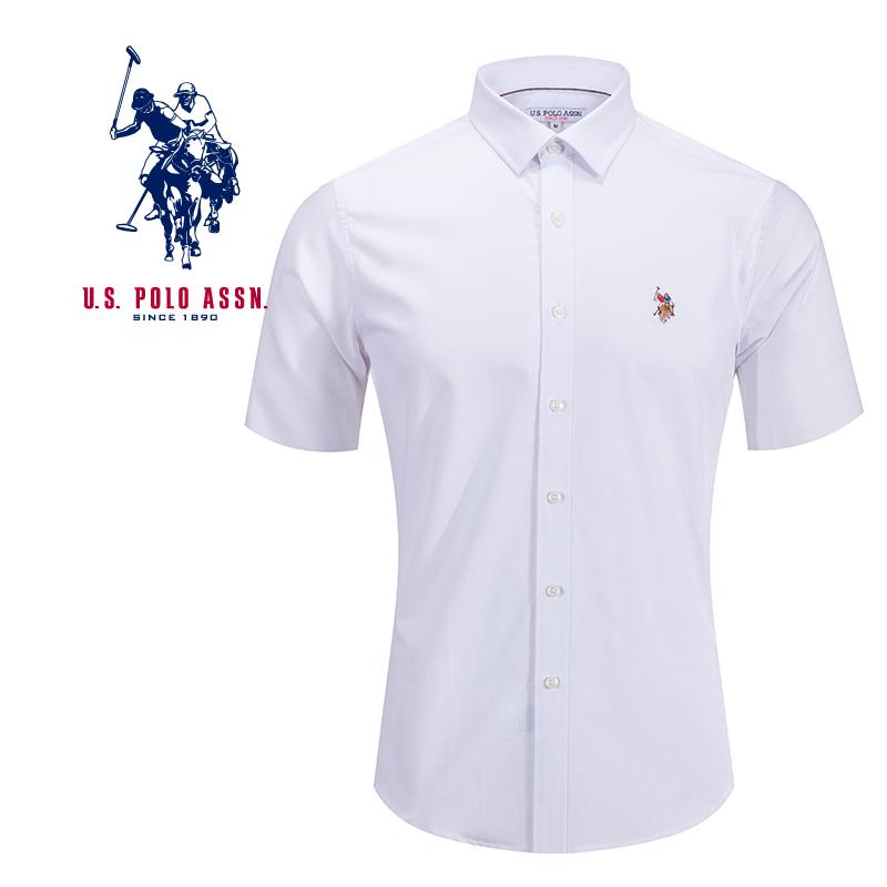 uspolo美国马球协会男士衬衫夏季男士纯白色短袖衬衫舒适休闲衬衫