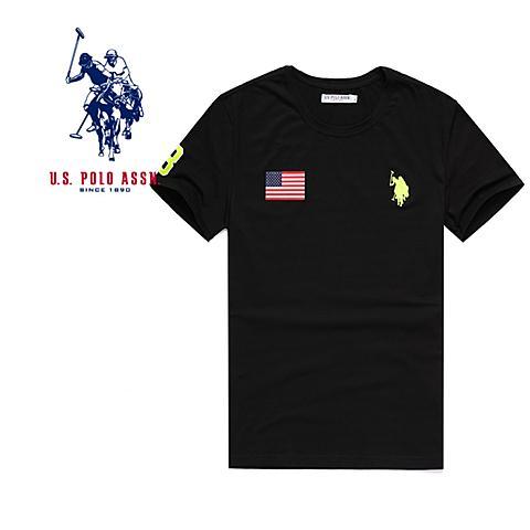 uspolo美国马球协会男装 男士夏季短袖t恤衫舒适休闲短袖保罗衫 黑色