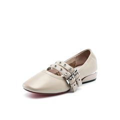 Belle/百丽秋季专柜同款杏粉摔纹牛皮女单鞋R5R1DCQ7