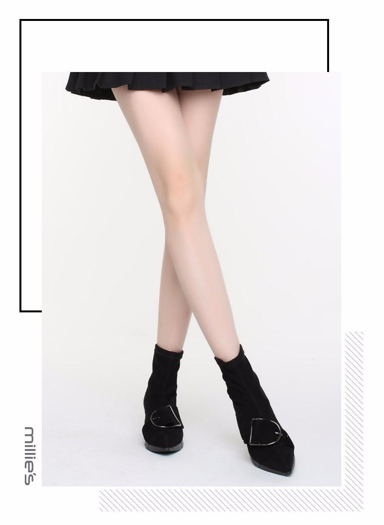 millies妙丽短靴_【妙丽milliesLB947DD7黑色】millies/妙丽冬季新款羊绒弹力时尚袜靴 ...