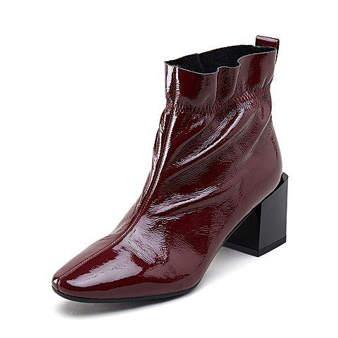 millies妙丽短靴_millies/妙丽冬季专柜同款漆牛皮时尚粗跟女短靴LP248DD8图片-优购 ...