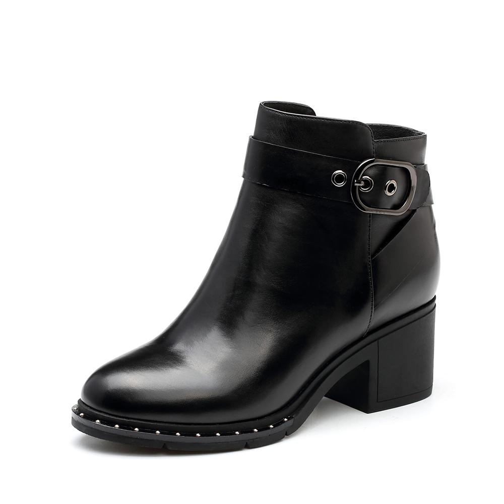 靴子高跟鞋跟图片_Tata/他她专柜同款黑色牛皮时尚通勤粗高跟女短靴FN441DD7图片-优购 ...