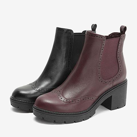 靴子高跟鞋跟图片_Tata/他她2018冬黑色牛皮革高跟切尔西靴套筒女短靴FE6DCDD8图片-优 ...